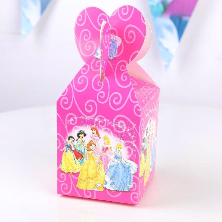 12 шт. Мультфильм Принцесса Золушка Бумага сумка конфеты коробка Подарочная коробка для мальчиков девочки; Дети Baby Shower День рождения украшен... ...