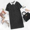 SHEIN Contrast Collar Polka Dot Straight Dress Womens Black and White Short Sleeve Casual Summer Womens Dresses 5