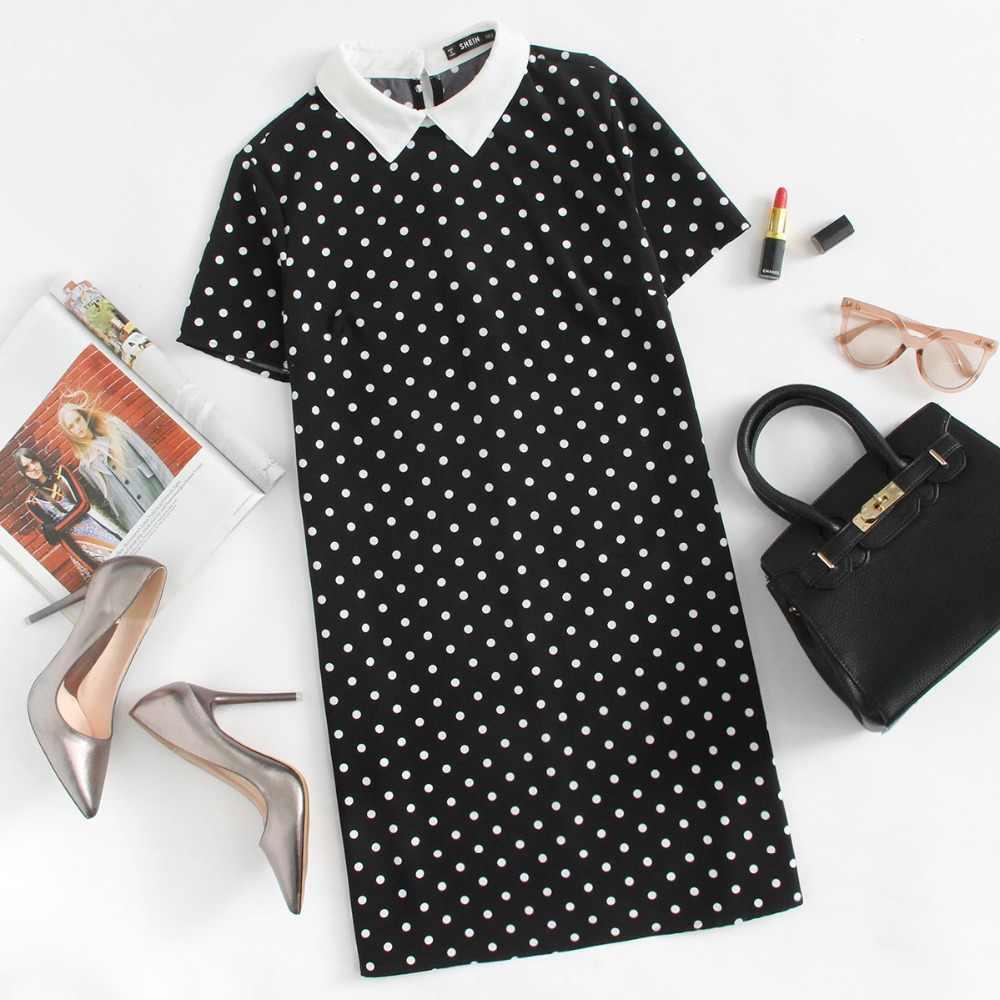 שיין ניגודיות צווארון מנוקדת ישר שמלת נשים שחור ולבן קצר שרוול מזדמן קיץ נשים שמלות