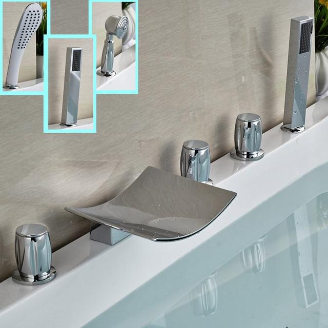 Classic 3 styles Waterfall Spout 5pcs Brass Bathtub Faucet Deck ...