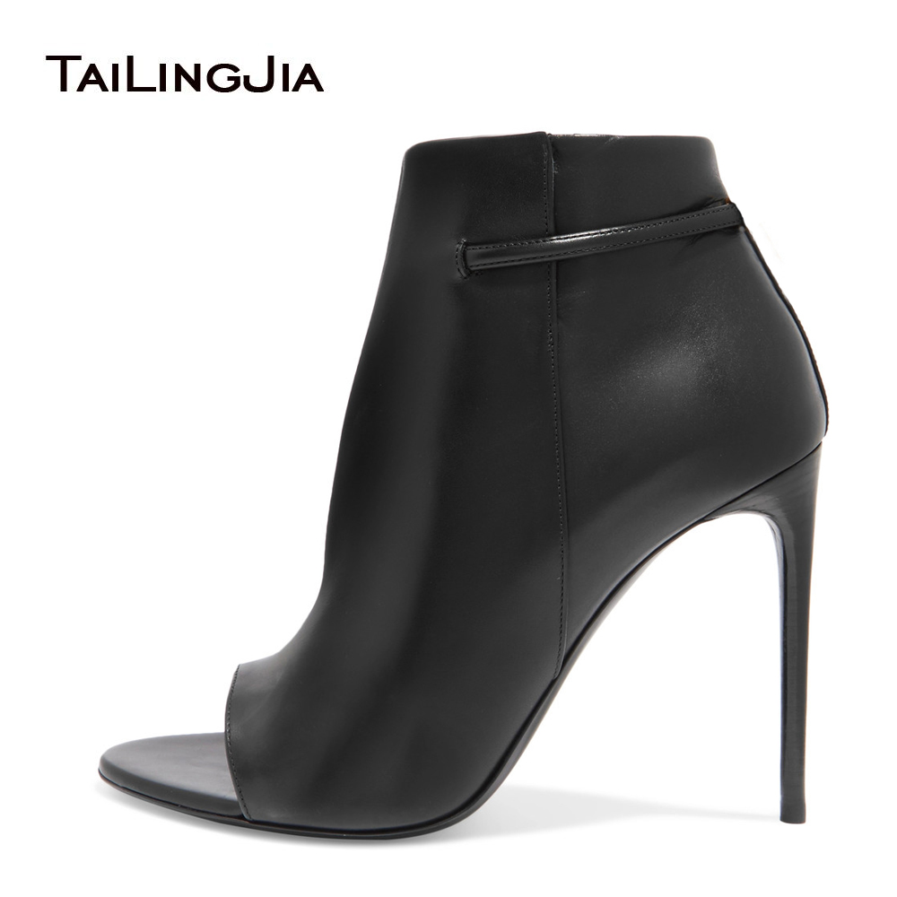 2017 Women Black High Heel Ankle Boots Sexy Peep Toe Extreme High Heel Booties Ladies Fall Autumn Party Evening Dress Shoes fall low heel black side zip boots ankle metal booties short flat 2017 shoes ladies round toe female fashion new chinese