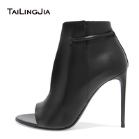 2017 Women Black High Heel Ankle Boots Sexy Open Toe Extreme High Heel Booties Ladies Fall Autumn Party Evening Dress Shoes