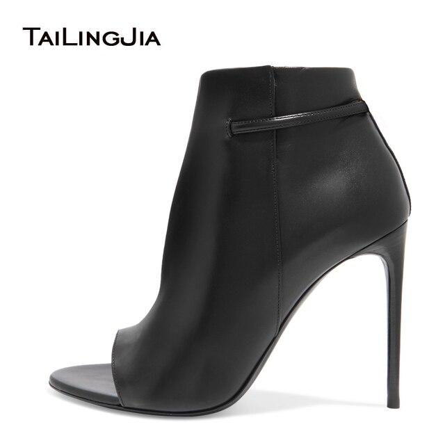 8717609177b70 2017 femmes noir à talons hauts bottines Sexy bout ouvert extrême haut talon  chaussons dames automne