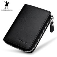 WILLIAMPOLO Brand Fashion Zipper Mini Wallet Genuine Leather Men Wallet Short Purse With Coin Pocket Cowhide Money Pocket