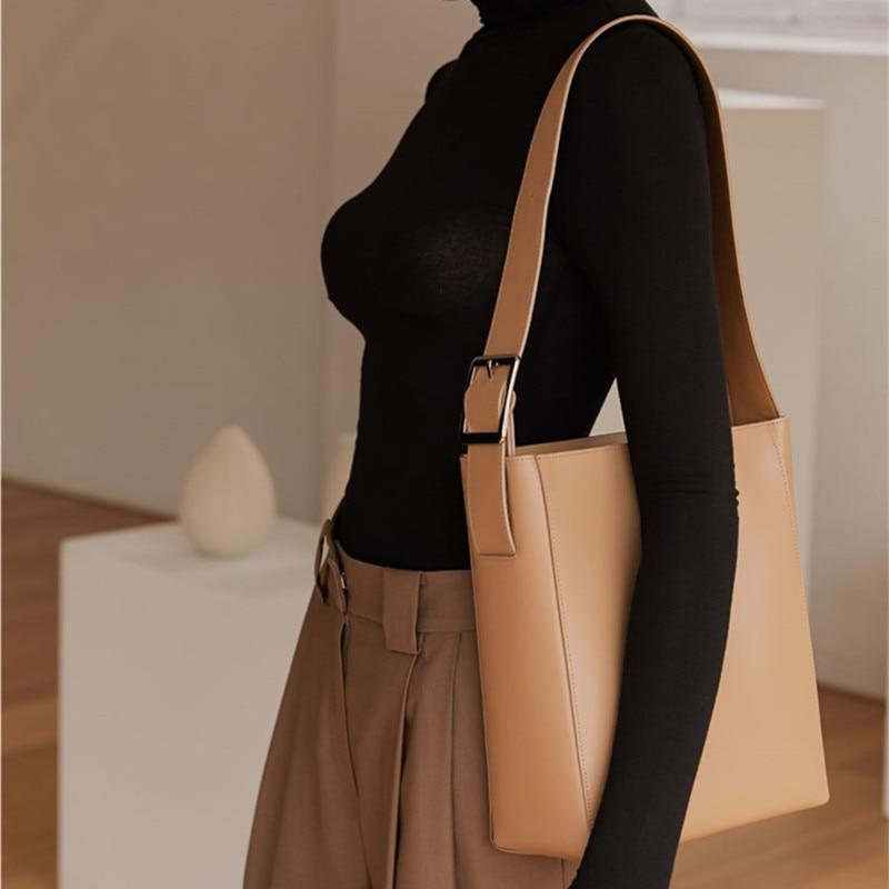 Bag Simple Dark Color Casual Tote Bags Women Shoulder Messenger Bags Ladies Large Capacity Wide Shoulder Strap Crossbody Bag