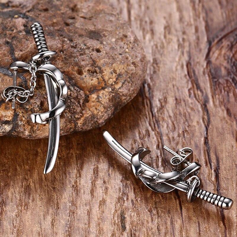 Japonês samurai espada scimitar brincos para homem pequeno vintage aço inoxidável katana orelha piercing earing punk jóias