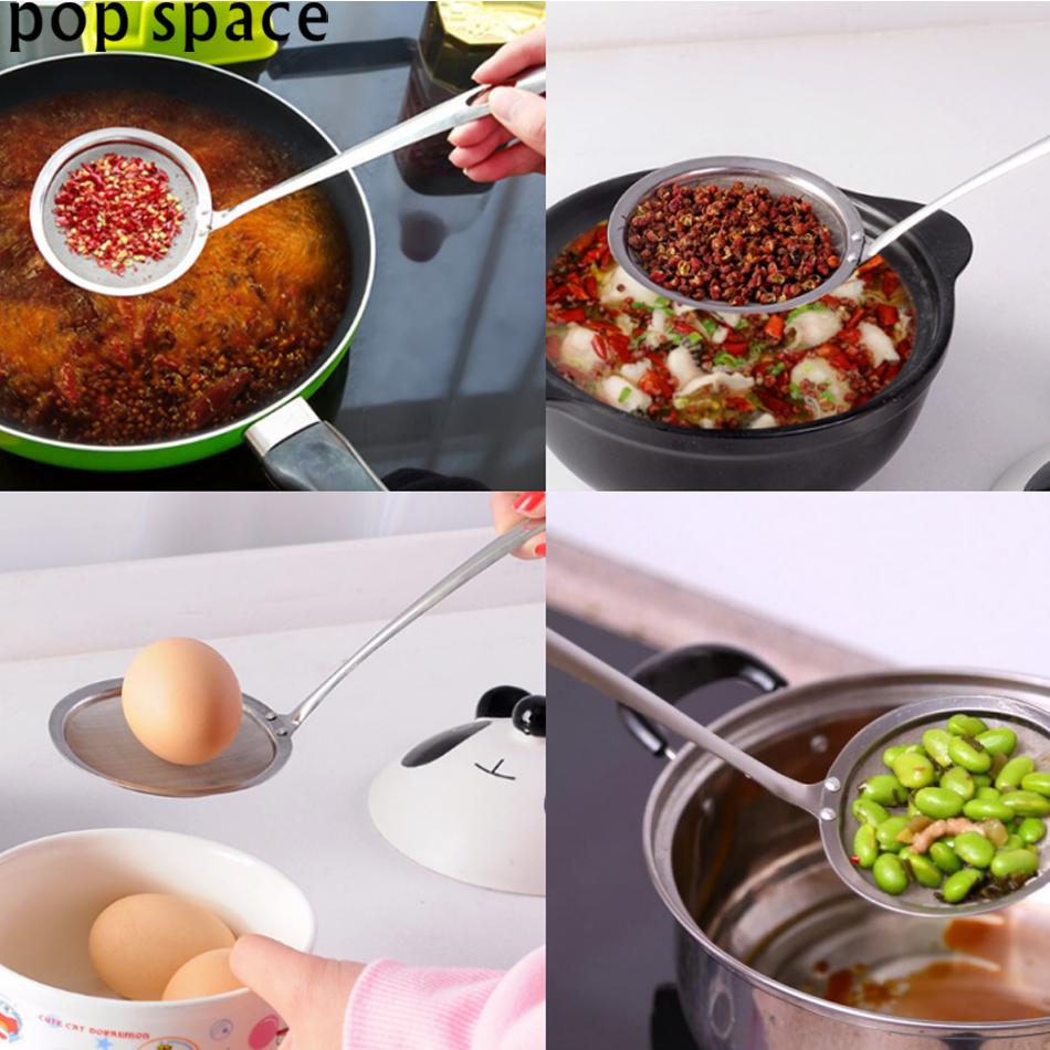 pop space Stainless Steel Cooking Oil Strainer Mesh Strainer Oil Filter Grid Scoop Colander Leak Oil Spoon Kitchen Accessories