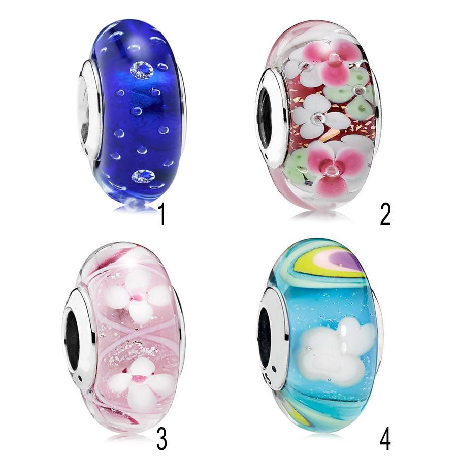 On Sale 925 Silver Murano Glass Beads fit Pandora Bracelet Iridescent Rainbow Charm Pink Field of Flowers Flower Garden DIY
