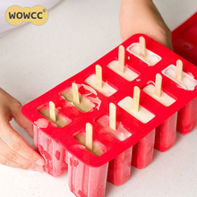 WOWCC 10 Cell Ice Cream Mould Silicone Popsicle Mold Ice Tray Puck Popsicle Mold Ice Cream Yogurt Maker Mold with Popsicle Stick