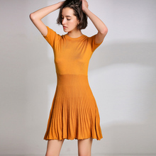 LHZSYY 2019 Spring New Women's Wool Knit Dress Fashion Solid color O Neck Slim Half sleeve Summer Pullover Hem Wild Female dress lhzsyy 2019women s spring new large size long solid color wool knit dress loose retro o neck high waist knit wild dress sweater