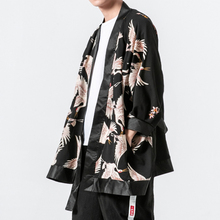Male Japan Harajuku Loose Casual Fashion Long Shirt Windbreaker Jacket Men Kimono Cardigan