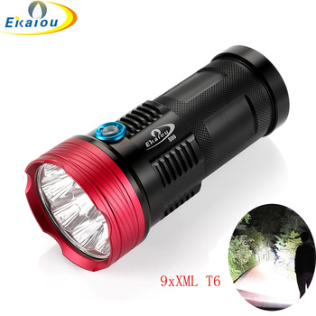 New Waterproof High lumen 9 x XML T6 LED Flashlight Tactical Torch 4x18650 Hiking Torch Free shipping sitemap 33 xml