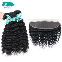 Allrun Deep Wave Bundles With Closure 13*4 Lace Frontal 3 Bundles Peruvian Human Hair Bundles With Closure Remy Hair Extensions