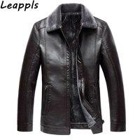 Leappls Plus size 1XL 8XL 5XL 6XL 7XL 8XL Faux Leather Men Solid Smart Casual Cashmere Turn down Collar Wool Liner PU jacket New