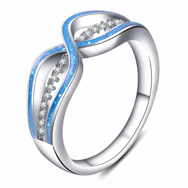 ชายหญิงสีขาววงแหวนหินสีฟ้าแหวนแฟชั่นทองเครื่องประดับแหวนแต่งงานสำหรับผู้ชายและผู้หญิง
