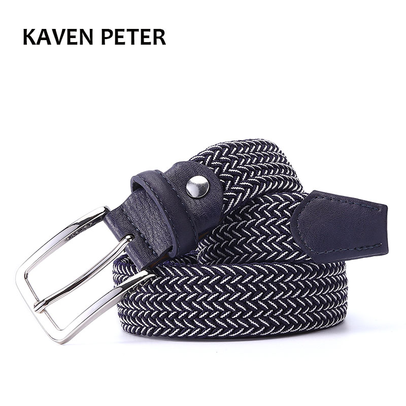 Mixed Color Elastic   Belt   Men Woven Elastic Stretch   Belt   Braided Knitted Stretch   Belt   With Covered Buckle1-3/8
