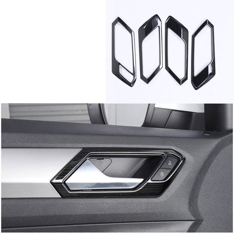 lsrtw2017 titanium black stainless steel car door handle frame trims decoration for volkswagen t roc 2017 2018 2019 2020 in Interior Mouldings from Automobiles Motorcycles
