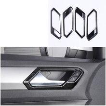 Lsrtw2017 titanium nero in acciaio inox auto maniglia della porta cornice trim decorazione per volkswagen t-roc 2017 2018 2019 2020