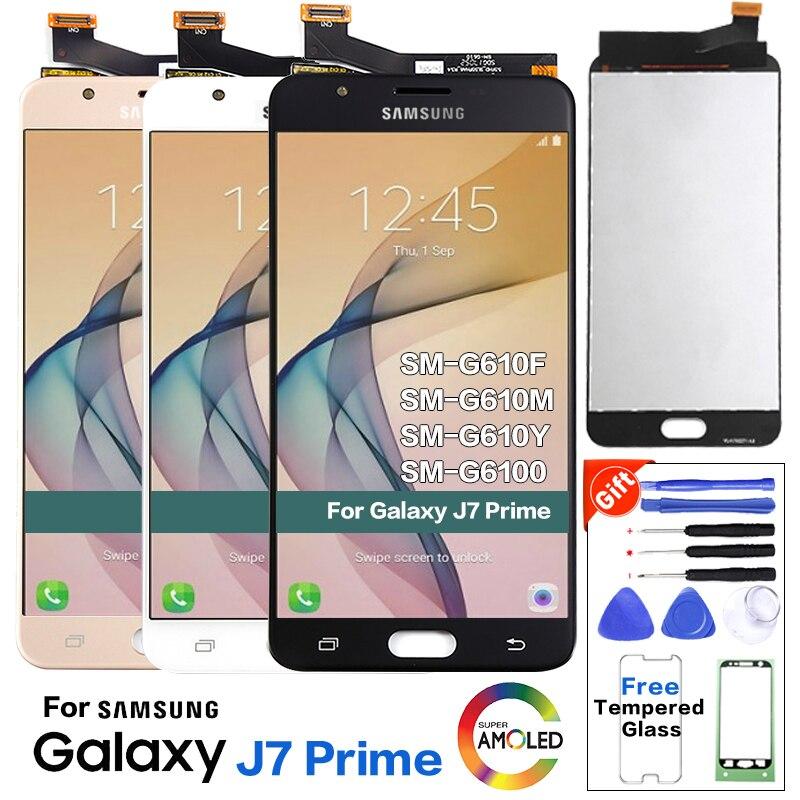 Para samsung galaxy j7 prime lcd g610 g610f g610m display de toque digitador da tela substituição para 5.5