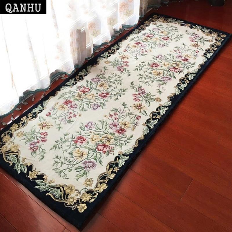 QANHU Europe Rugs Rectangle Carpets For Home Bedroom Bedside Mat Chenille Anti-Slip Floor Carpets 70*180cm 5 Colors #C-06