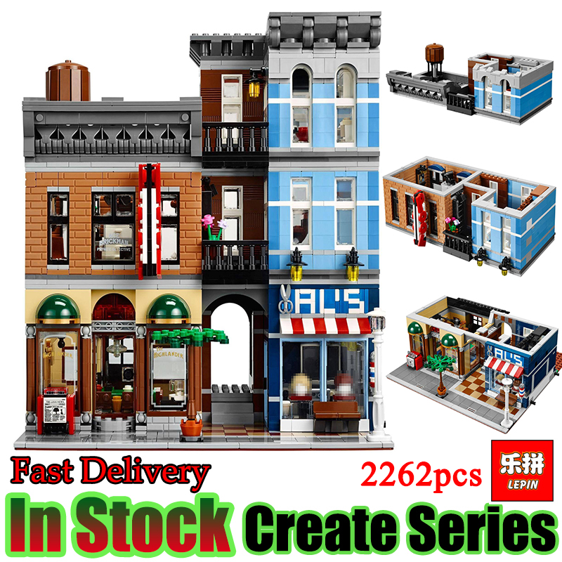 Lepin 15011 City Street Detective's Office House Model Building Blocks Set Bricks Set Model Toys For Children 10246 a toy a dream lepin 15008 2462pcs city street creator green grocer model building kits blocks bricks compatible 10185