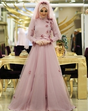 Muslim Evening Dresses With Hijab 2016 Light Pink Long Sleeves Arabic Formal Evening Gowns Long Women Dress