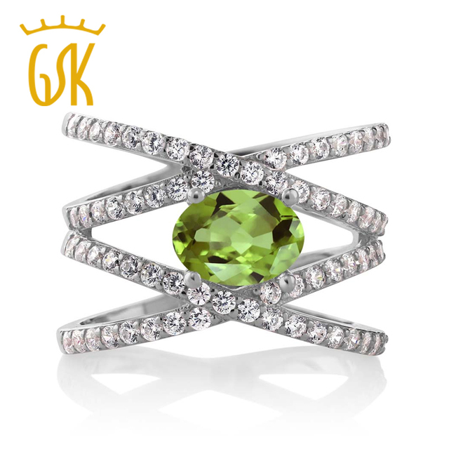 GemStoneKing 2.26 Ct Oval Natural Green Peridot Jewelry Solid  925 Sterling Silver Wedding Band Ring For Women