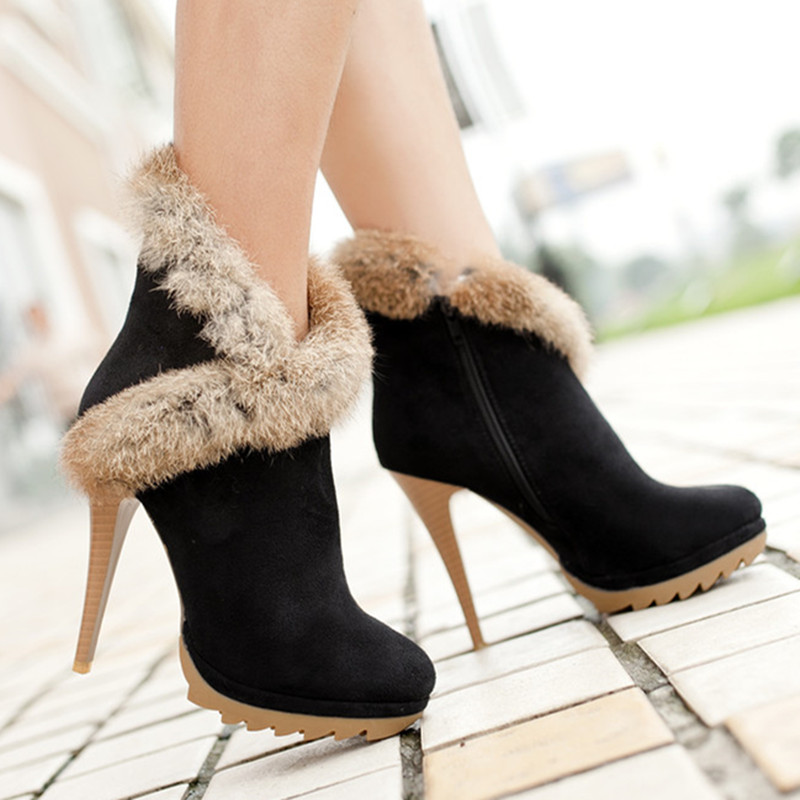 Meotina Shoes Women Boots Platform High Heels Winter Boots Ladies Shoes Sexy Stiletto Ankle Boots Rabbit