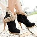 Meotina zapatos mujeres plataforma botas de tacones altos botas de invierno zapatos de las señoras sexy botines de tacón de aguja de piel de conejo zapatos negro verde