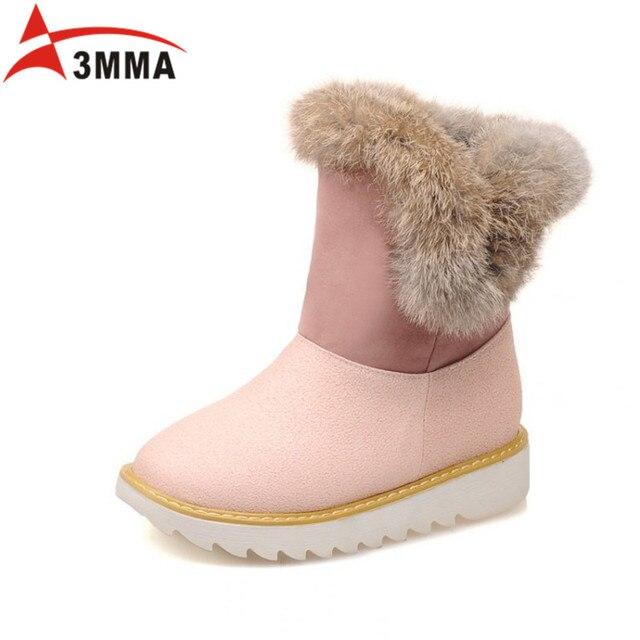 US $76 8 |3mma 2016 Handmade Snow Boots Large Size Flat Platform Ankle  Boots Ugs Australia Boots Women Winter Warm Fur Boots Bottine Femme-in Snow
