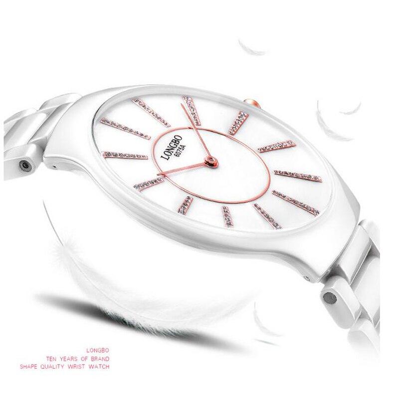 ФОТО LONGBO watch top ceramic watch female ultra-thin women's table waterproof quartz watch women's inveted 6075
