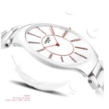 LONGBO reloj top reloj femenina de cerámica ultra-delgada de cuarzo resistente al agua reloj de las mujeres inveted de las mujeres 6075