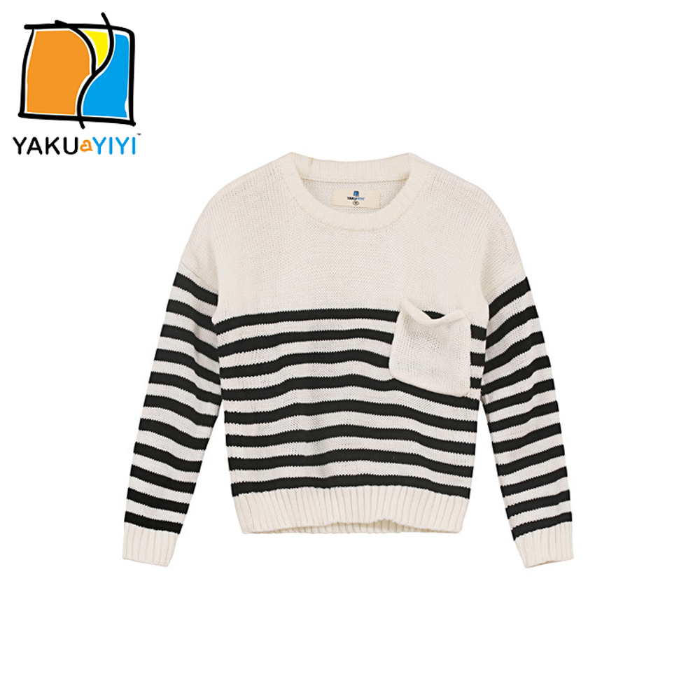 YKYY YAKUYIYI Girls Pullover Sweater White & Black Striped Baby Girls Knit Tops Soft Pockets Children Sweater Girls Clothing