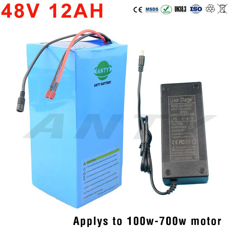 Bike Battery 48V 12Ah Electric Bicycle Battery Built-in 15A BMS 48V Lithium Battery Pack For 700W eBike Motor 18650 Battery 48v 34ah triangle lithium battery 48v ebike battery 48v 1000w li ion battery pack for electric bicycle for lg 18650 cell