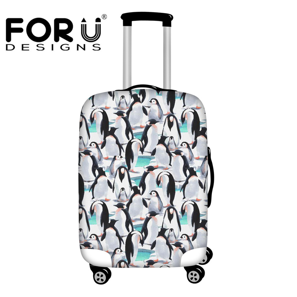 FORUDESIGNS Cartoon Penguin Suitcase Protective Covers Travel Accessory Waterproof Luggage Cover Elasticity Trolley Case Cover