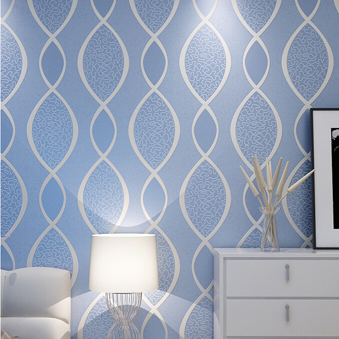 Blue Living Room Wallpaper Part   25: ... Modern Thickened Stereo 3D  Wallpaper Part 26