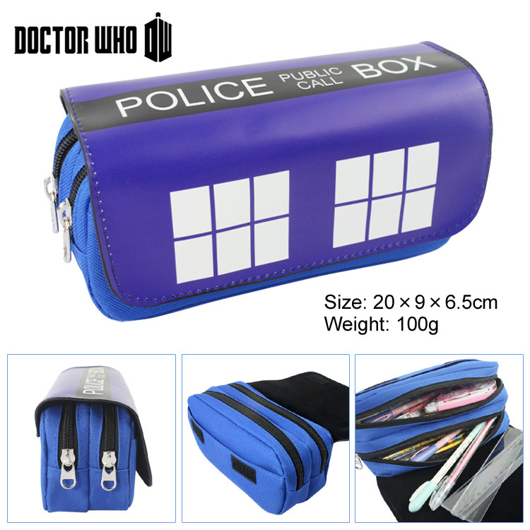 Doctor Who Canvas Double Zipper Pencil Bag Anime Pencil Case Kids Gift Stationery Container School Supplies сарафаны doctor e сарафан