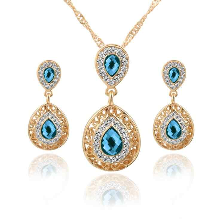 Perhiasan Set Ganda Water Drop Kristal Anting Warna Emas Berlian Imitasi Liontin Kalung Untuk Wanita Engagement Bridal Wedding Set