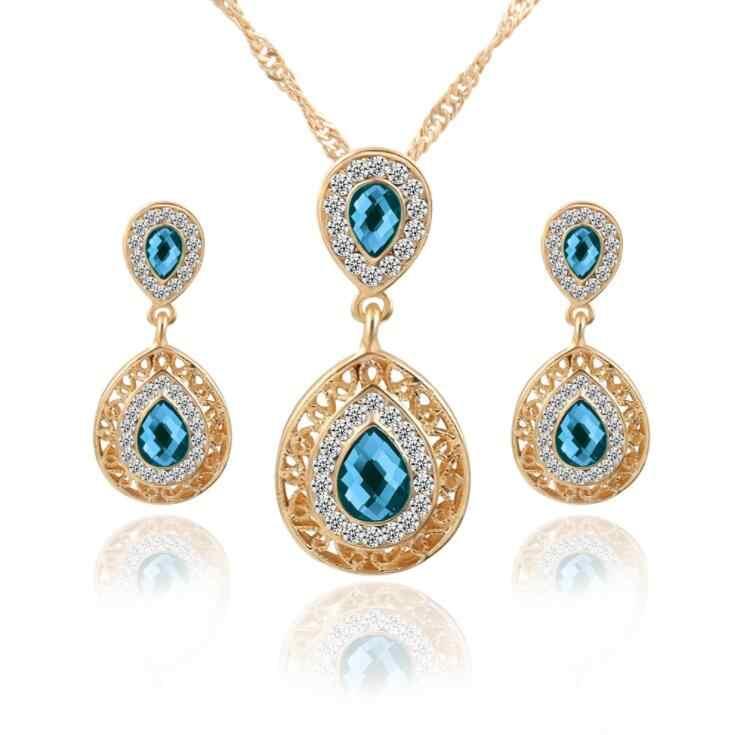 Ensembles de bijoux Double goutte d'eau boucles d'oreilles en cristal couleur or strass pendentif colliers pour femmes fiançailles nuptiale ensemble de mariage