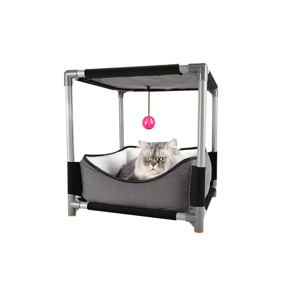 Petacc Cat Bed Assembled Pet Lounge Windproof Cat Furniture with Ball Toy