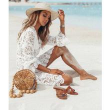 Summer Women White Mini Dresses 2019 New Sheer Lace Cover Up Long Sleeve Short Dress