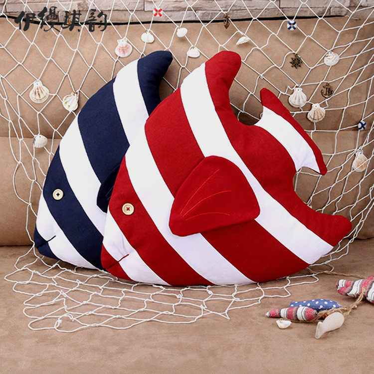 2107 New Creative Striped Fish & Sailing Boat Decorative Pillows cojines Mediterranean Hand-made Deer Cushion Fish Shapes