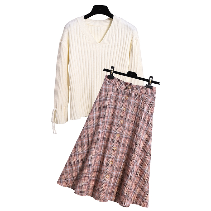 SexeMara Real shot Hard autumn and winter Sweater Women s Fashion Set Woolen Plaid Skirt Set