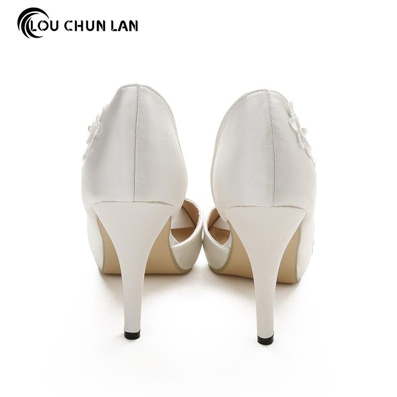 Туфли под платье Для женщин Насосы открытый носок с открытым носком свадебные туфли на высоком каблуке для вечеринки шелковые бусинами Бол...