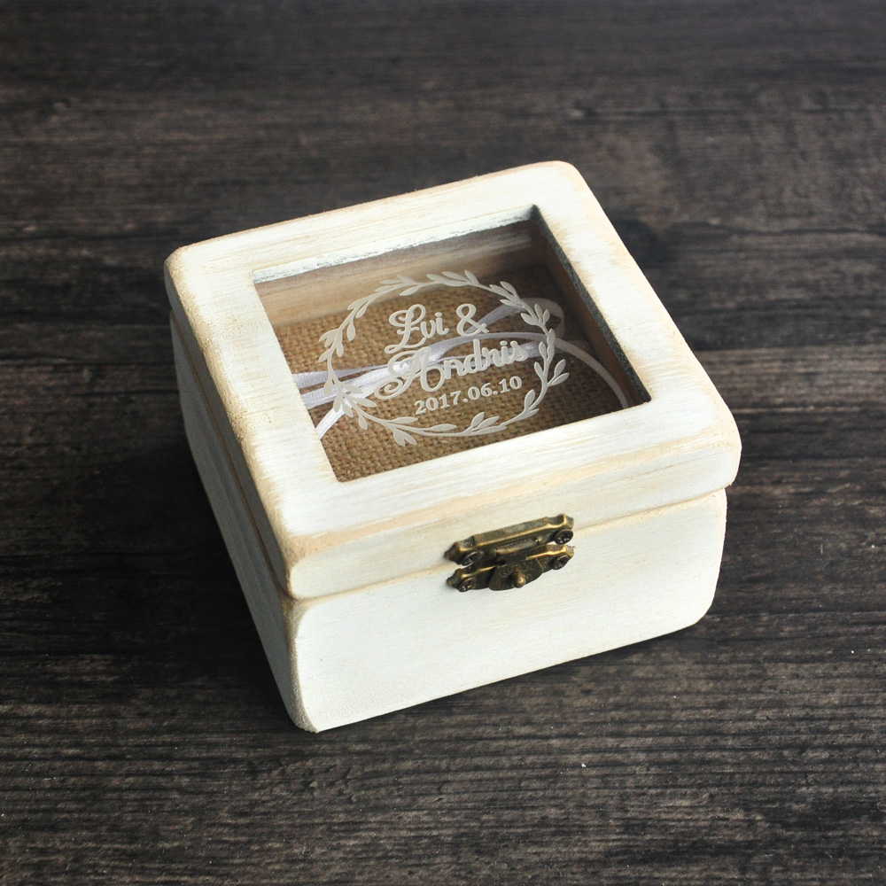 Personalized wedding ring box glass ring bearer box ring for Custom engagement ring box