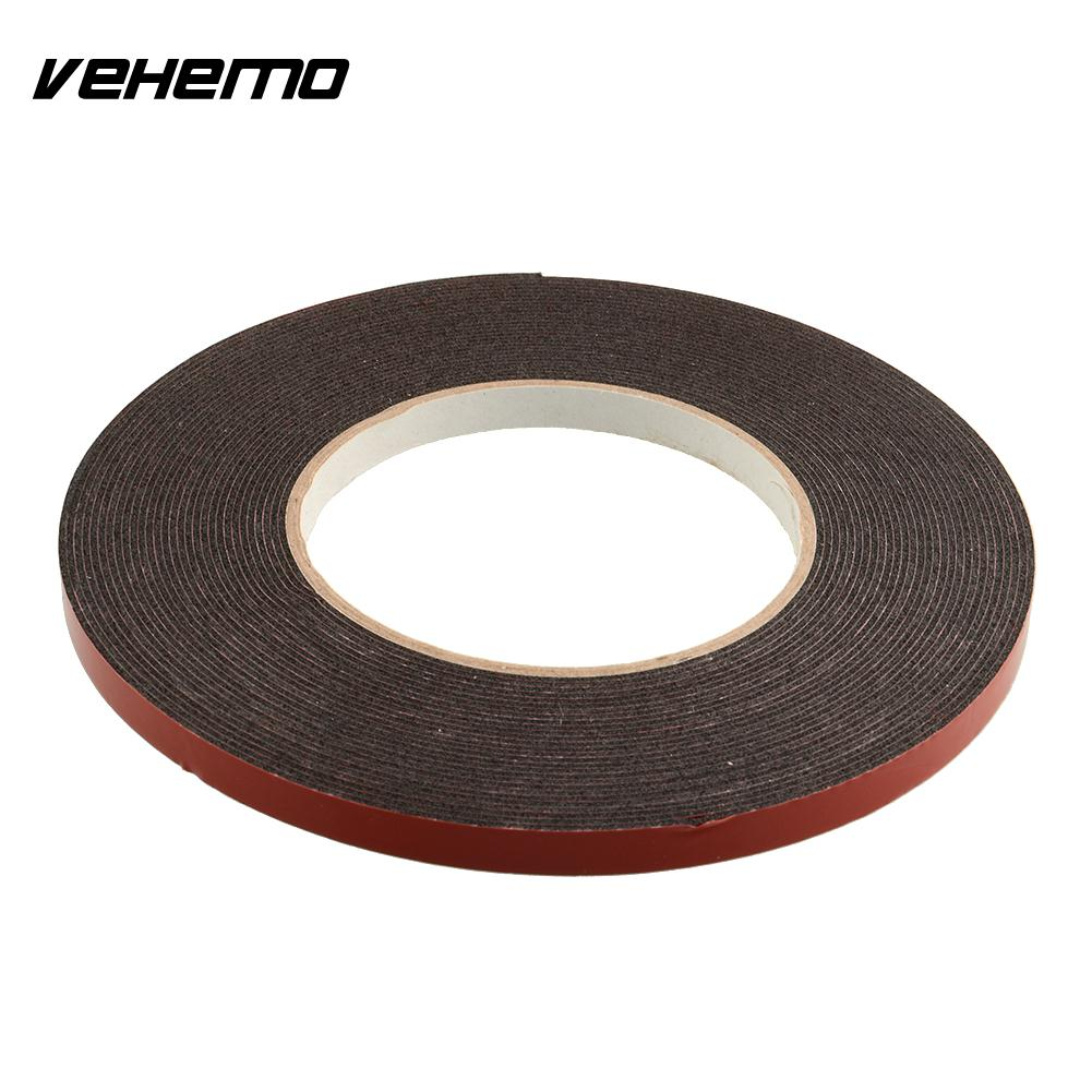 Vehemo New Double Sided Car Truck Vehicle Trim Moulding & Badge Foam Sticky Tape Strong Adhesive 6mmx10m Heavy Duty miaogy 5 rolls 6mm 25m strong pet double sided adhesive tape for auto car abs plastic panel battery glass bond