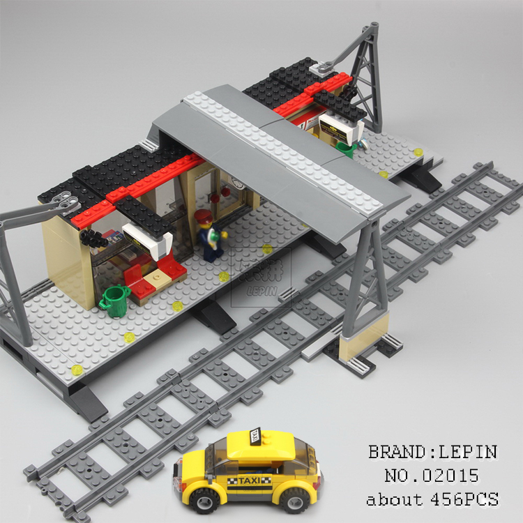 Lepin 02015 456pcs City Series Train Station car-styling Building Blocks Bricks toys for children gifts Compatible 60050 city series police car motorcycle building blocks policeman models toys for children boy gifts compatible with legoeinglys 26014