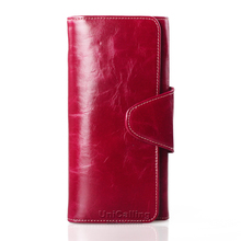 New style Fashion hasp women wallets solid color Top grade Small fresh genuine leather long wallet Oil Wax Cowhide Card Holder