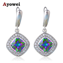 Fantastic Mystic Crystal Earrings for Women Silver Stamped Health and Beautiful Fashion Jewelry Dangle Earrings JE1023A