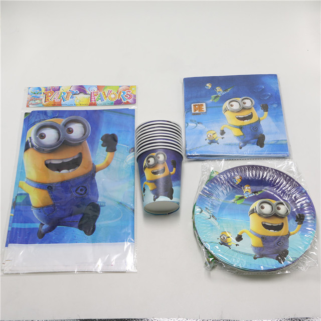 despicable me minions movie 37pcs/lot paper plate cup tablecloth 8 people use kids event & despicable me minions movie 37pcs/lot paper plate cup tablecloth 8 ...